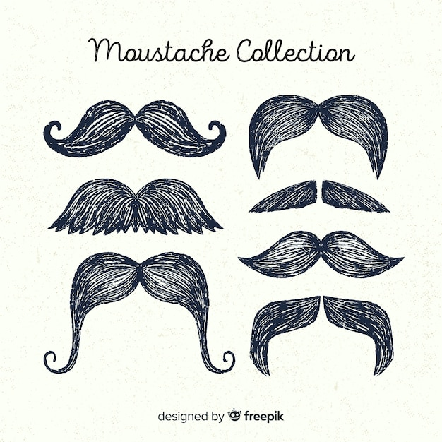 Hand drawn movember mustache pack collection Free Vector
