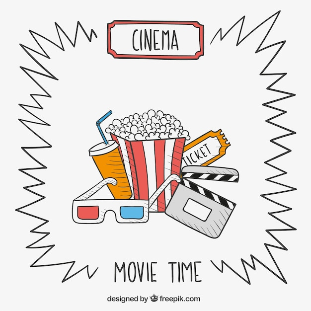 hand drawn movie time vector free download
