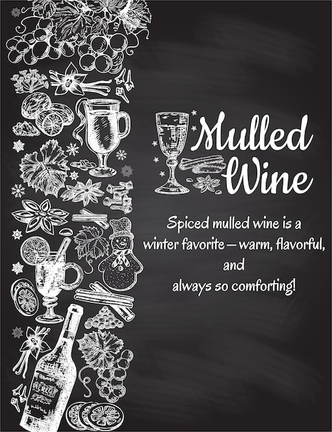 Hand drawn mulled wine poster. black and white sketch with wine glass. menu cards design templates in retro vintage style on black background Premium Vector