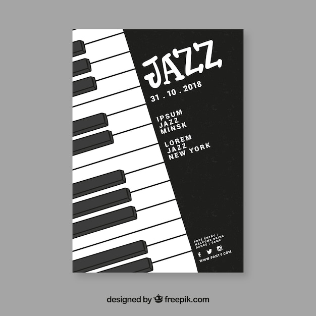 Hand drawn music festival poster template Vector | Free Download