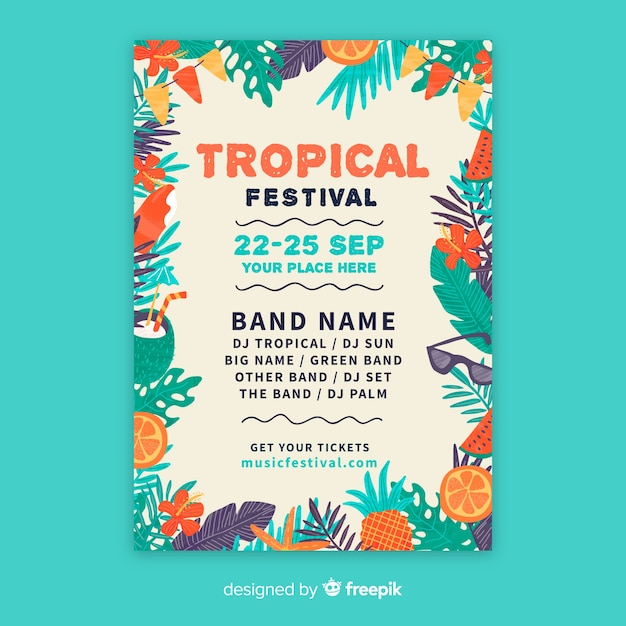 Hand Drawn Music Festival Poster Template Vector