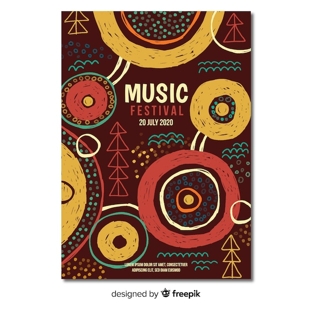 Hand drawn music festival poster template Free Vector