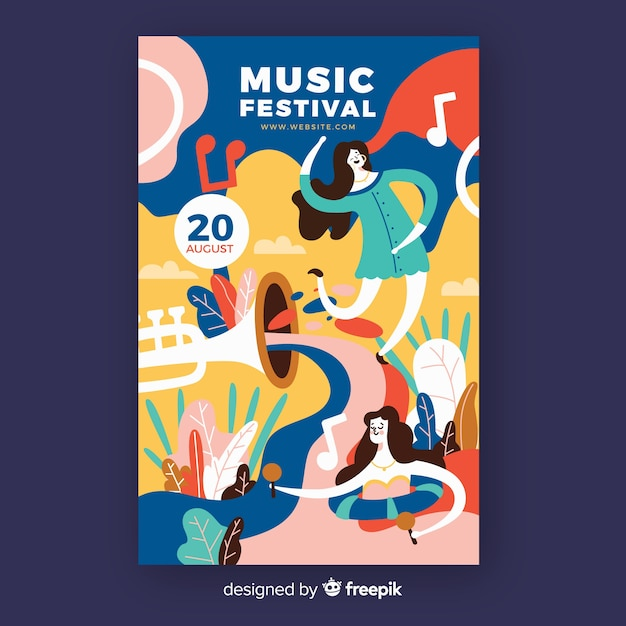 Hand-drawn music festival poster with dancers Free Vector