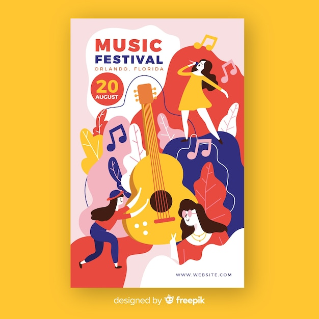 Hand-drawn music festival poster with guitar Free Vector