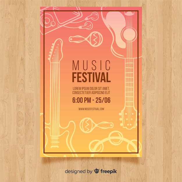 Hand drawn music festival poster Free Vector