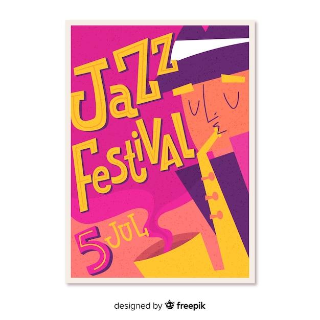 Hand drawn music festivel poster Free Vector
