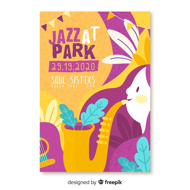 Hand drawn music jazz at park festival poster Free Vector