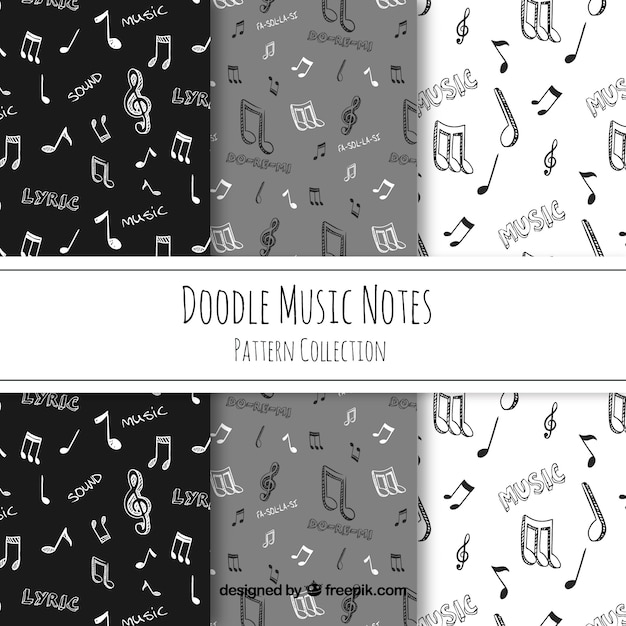 Hand Drawn Music Notes Pattern Vector Free Download