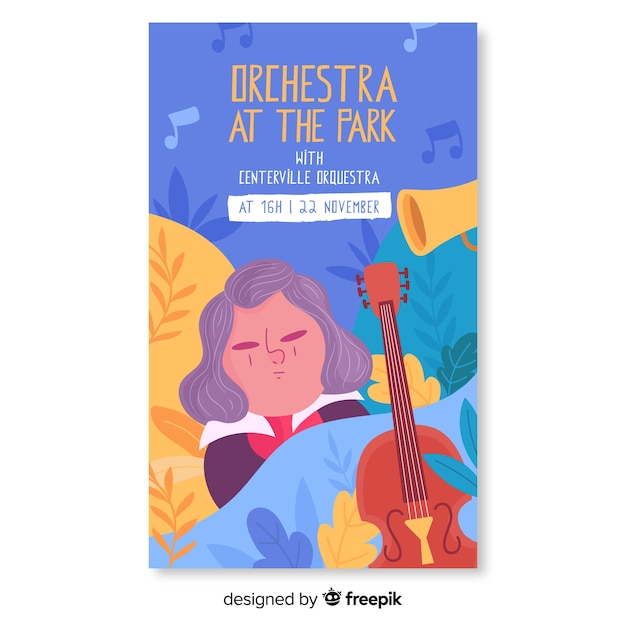 Hand drawn music orchestra at the park festival poster Free Vector