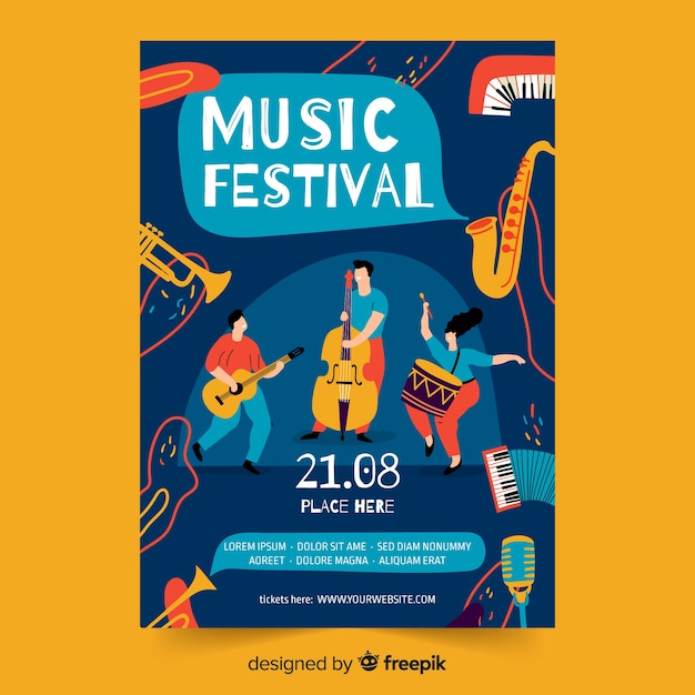 Hand drawn music poster template Free Vector
