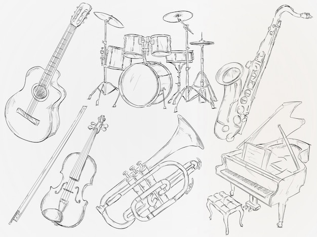 Hand drawn musical instrument Free Vector