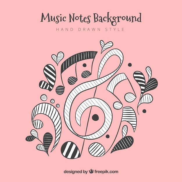 Hand Drawn Musical Notes Background Vector Free Download