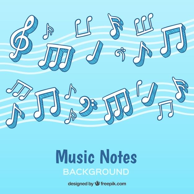 Sfondo di note musicali disegnate a mano Vettore gratuito