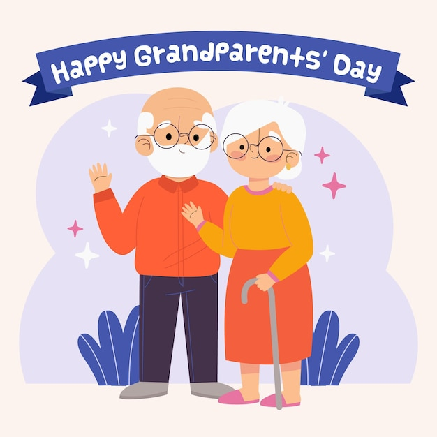 Hand drawn national grandparents day illustration Free Vector