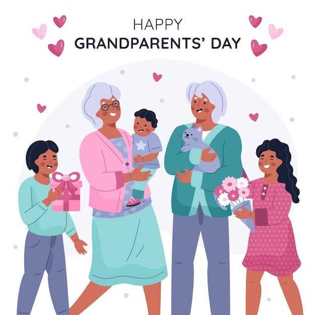 손으로 그린 국가 조부모의 날 미국 무료 벡터