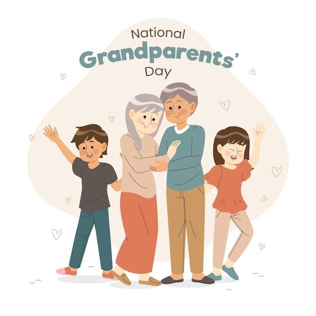 Ручной обращается национальный день бабушек и дедушек с внуками Бесплатные векторы