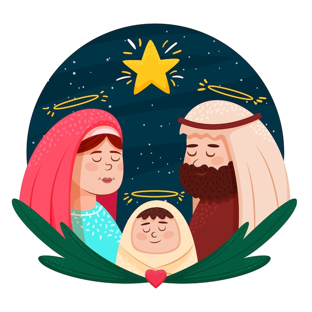 Hand drawn nativity scene concept Free Vector