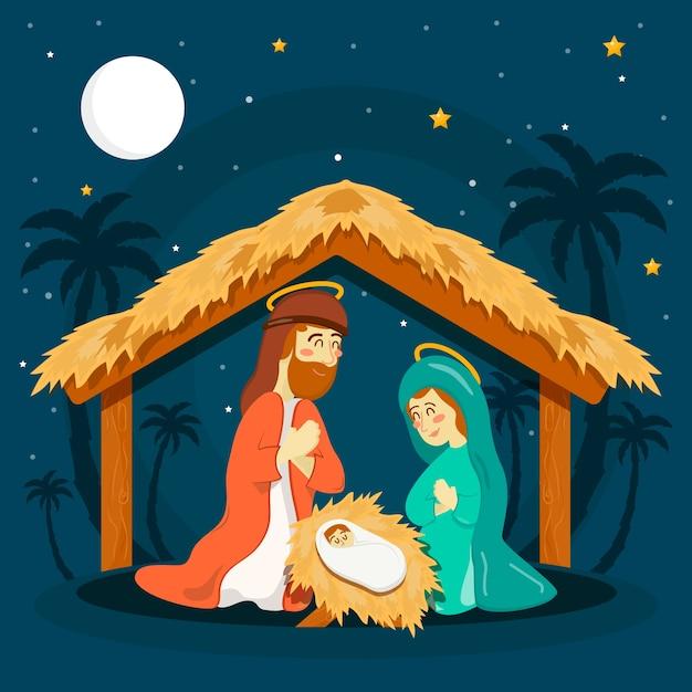 Hand drawn nativity scene concept Free Vector