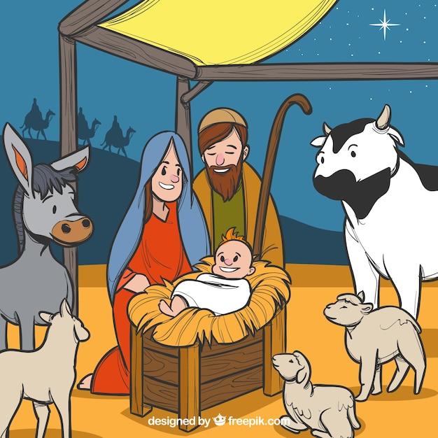Hand drawn nativity scene with animals Free Vector