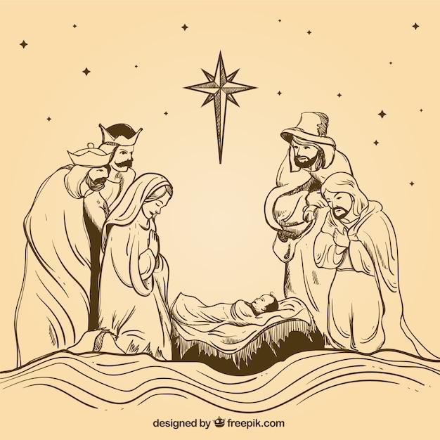 Hand-drawn nativity scene with wise men Premium Vector