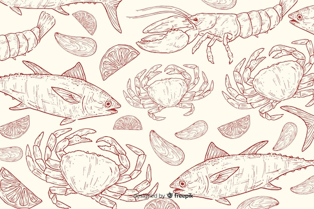 Hand drawn natural food background Free Vector