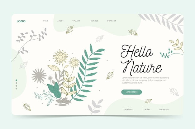 Hand drawn natural landing page template Free Vector