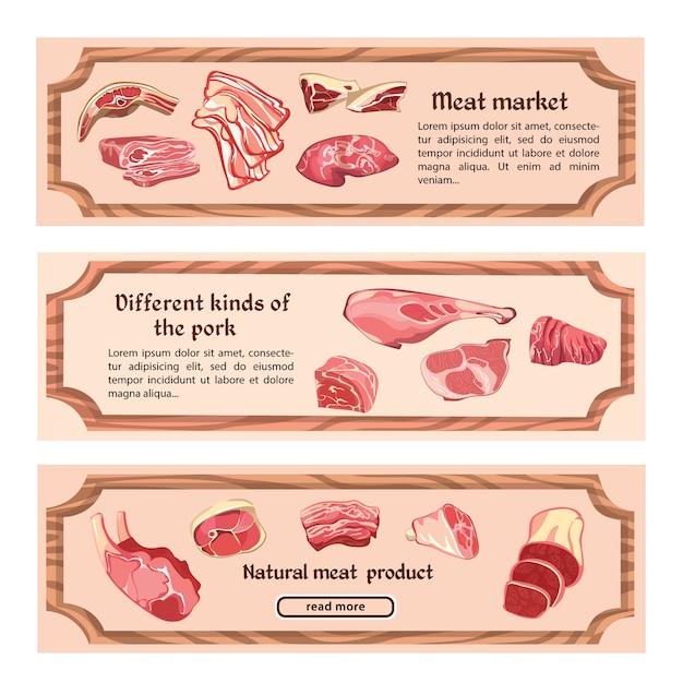 Bandiere orizzontali di carne naturale disegnata a mano Vettore gratuito