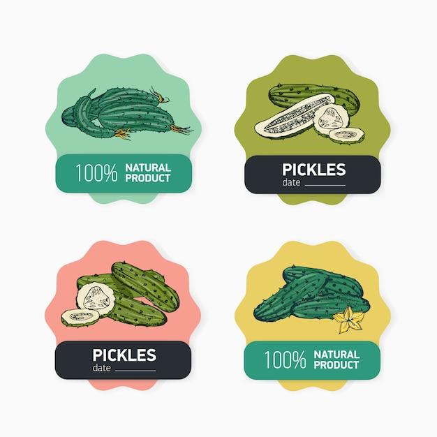 Hand drawn natural organic vegetables labels Premium Vector
