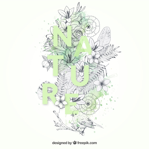 Hand drawn nature background Free Vector