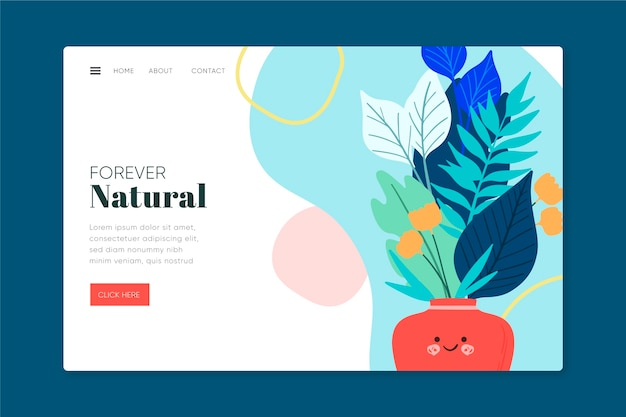 Hand drawn nature landing page template Free Vector