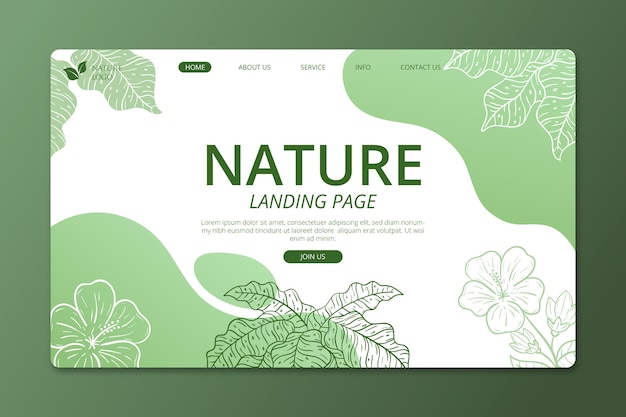 Hand-drawn nature landing page template Free Vector