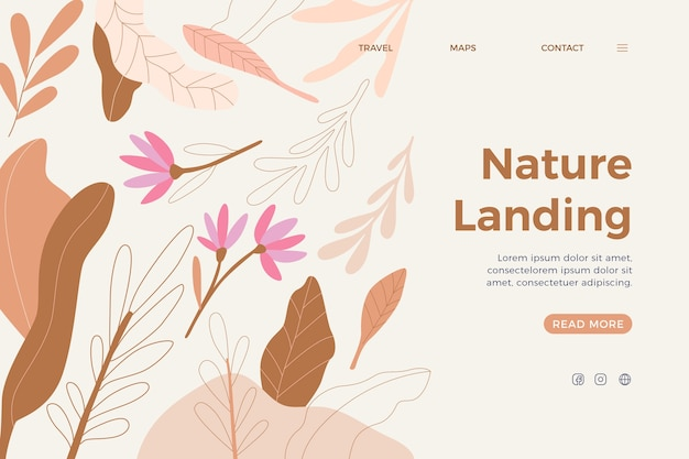 Hand drawn nature landing page Free Vector