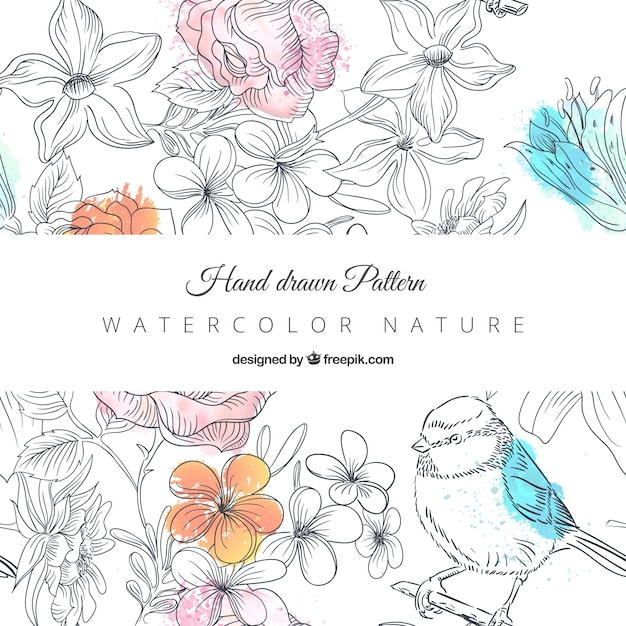 Hand drawn nature pattern  Free Vector