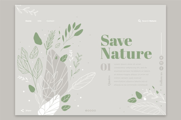 Hand drawn nature template landing page Free Vector