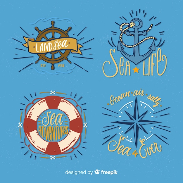 Hand drawn nautical badge collection Free Vector