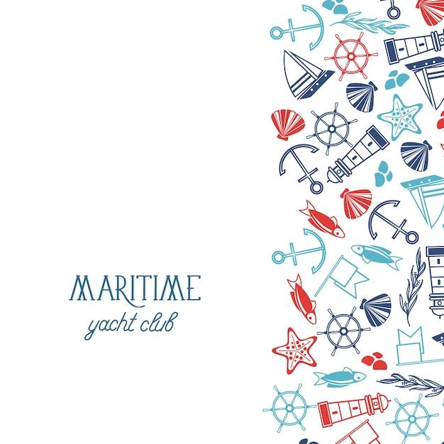 Modello nautico disegnato a mano con volante di corallo di conchiglie di stelle marine di bandiera di pesce di ancoraggio della nave Vettore gratuito