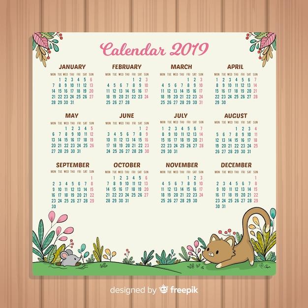 Hand drawn new year 2019 calendar Free Vector