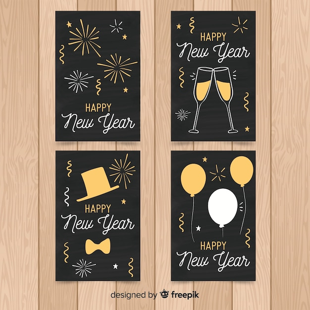 Hand drawn new year 2019 cards set Free Vector