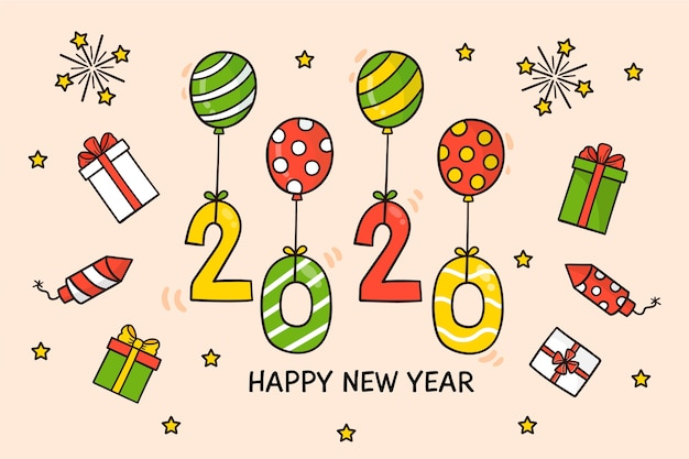 Hand drawn new year 2020 background concept Free Vector