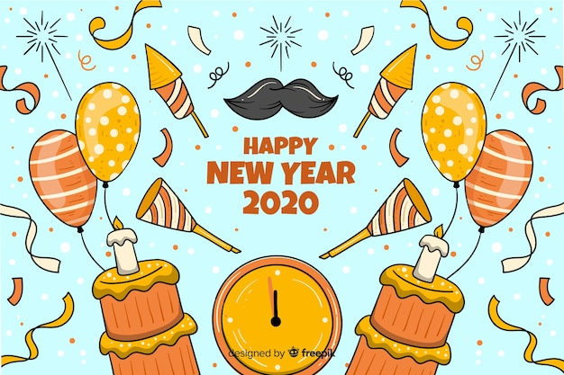 Hand drawn new year 2020 background Free Vector