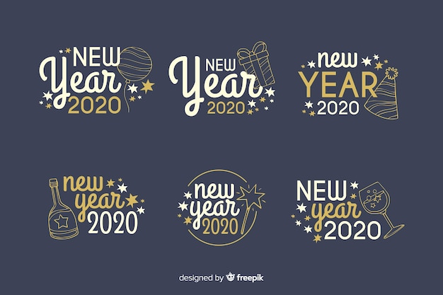 Hand drawn new year 2020 badge collection Free Vector