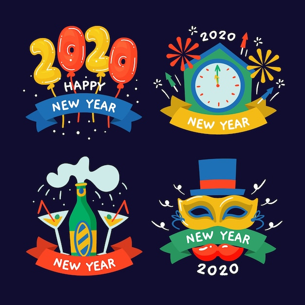 Hand drawn new year 2020 label collection Free Vector