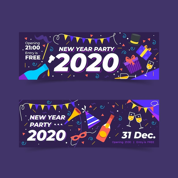 Hand drawn new year 2020 party banners template Free Vector