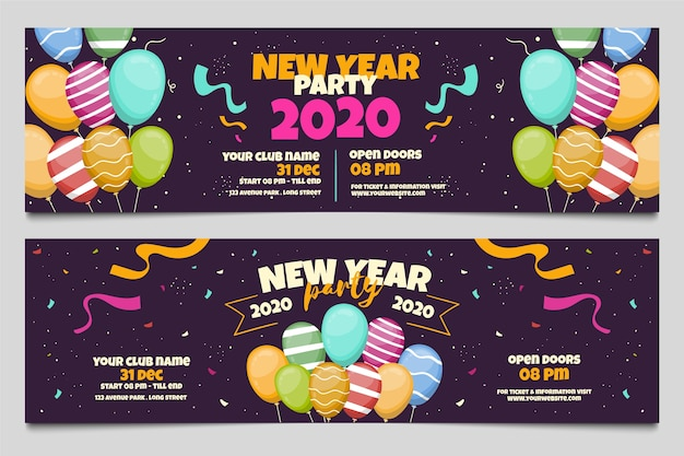 Hand drawn new year 2020 party banners Free Vector