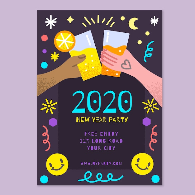 Hand drawn new year 2020 party flyer/poster template Free Vector