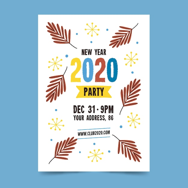 Modello di volantino / poster per il nuovo anno 2020 disegnato a mano Vettore gratuito