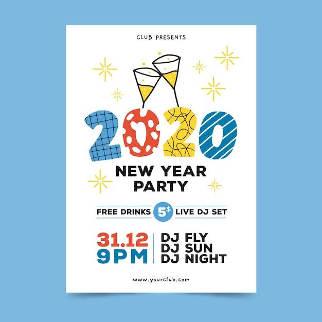 Volantino / poster del nuovo anno 2020 disegnati a mano Vettore gratuito
