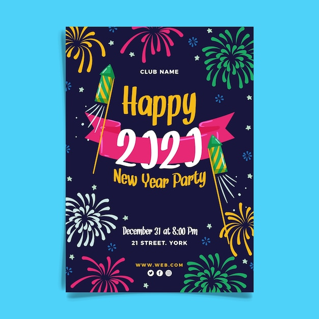 Hand drawn new year 2020 party flyer template Free Vector