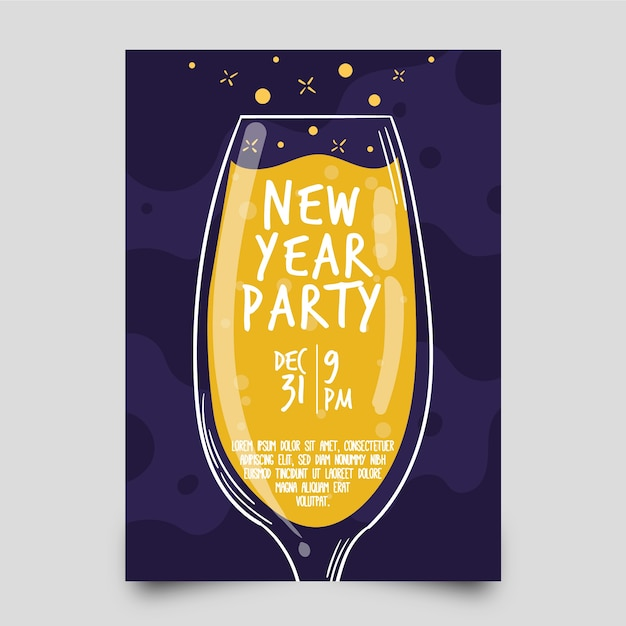 Hand drawn new year 2020 party poster template Free Vector