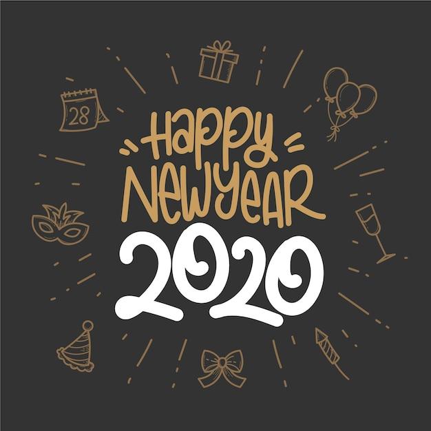Hand drawn new year 2020 wallpaper Free Vector